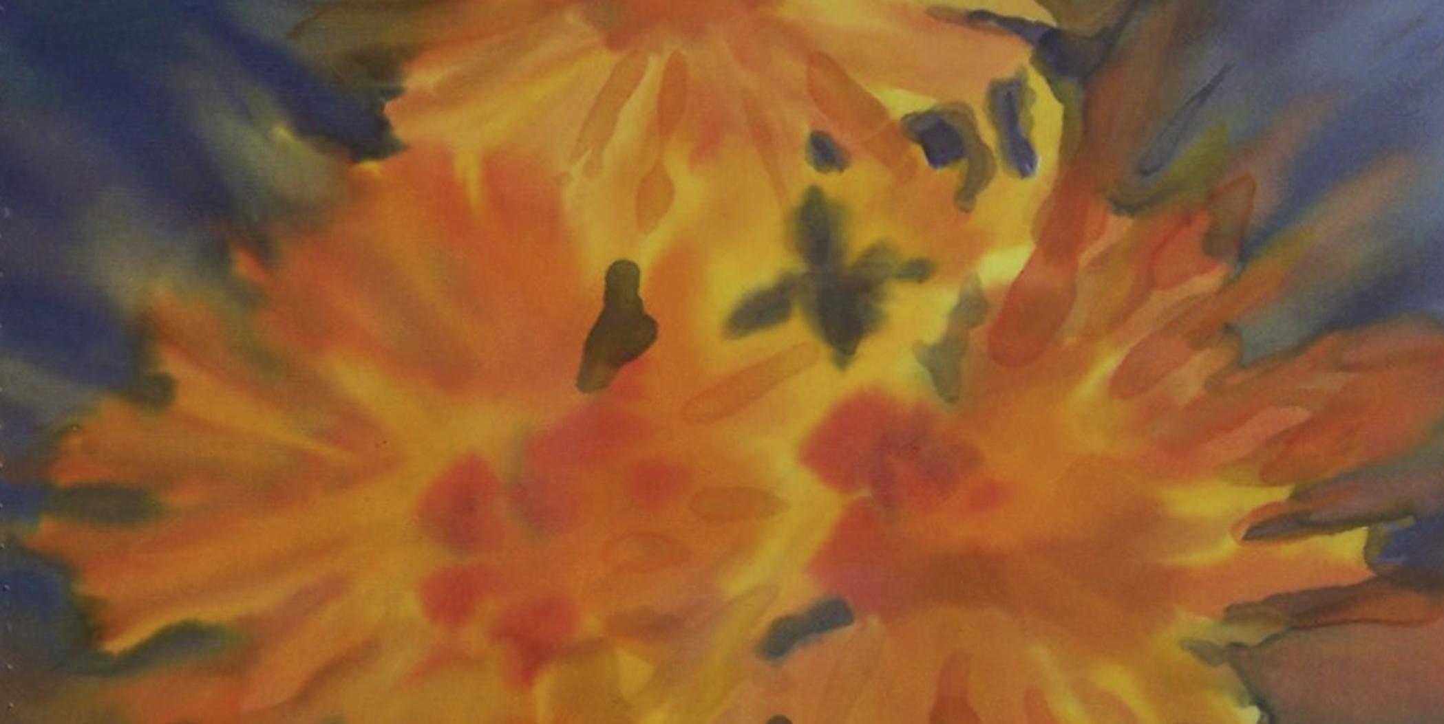 helios - acuarela en seda 25 x 25 cm. detalle